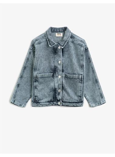 Koton Klasik Yaka Pamuklu Cepli Jean Ceket Mavi